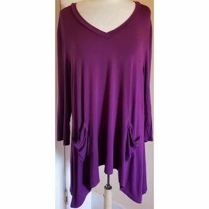 LOGO Lori Goldstein Purple Tunic Top Shirt
